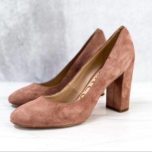 SAM EDELMAN Mauve Suede Chunky Block Heels 8.5